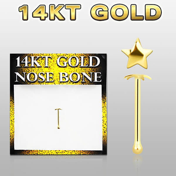 14k Gold Nose Bone with star top