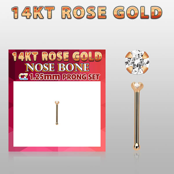 Rose Gold Nose Bone with crystal