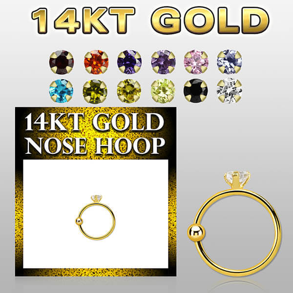 14k Gold Nose Hoop