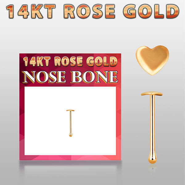 Rose Gold Nose Bone with Heart Top