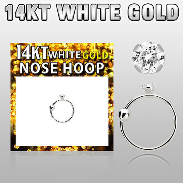White Gold Nose Hoop with crystal
