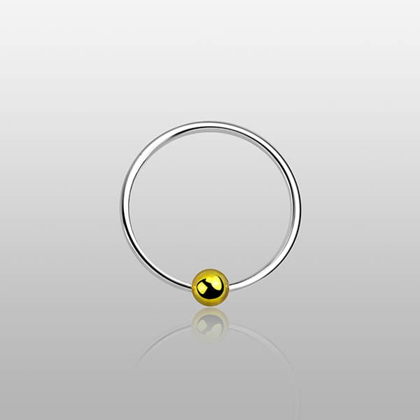 Silver Nose Hoop Ring with gold ball