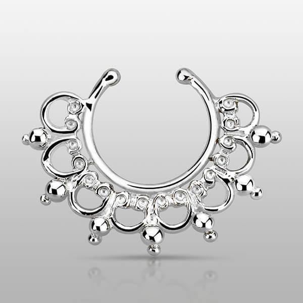 Indian Design Silver Septum Ring