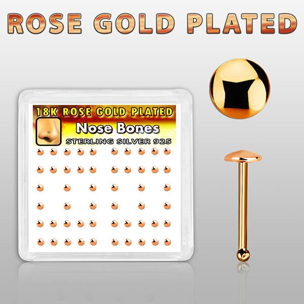 Rose Gold Plated Nose Bones with round top