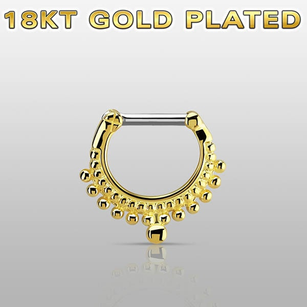 Gold Plated Septum Clicker Ring