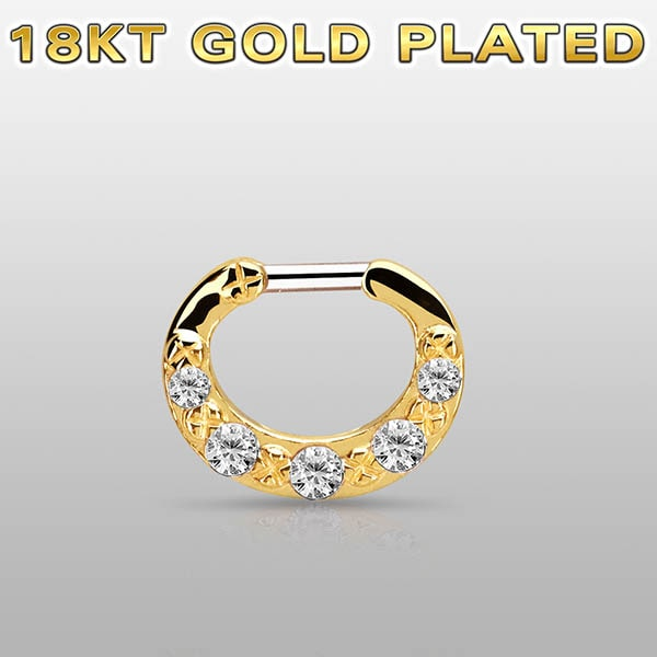 18k Gold Plated Septum Clicker Ring