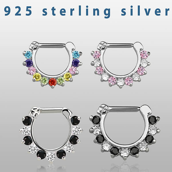 Silver Septum Ring with Gems