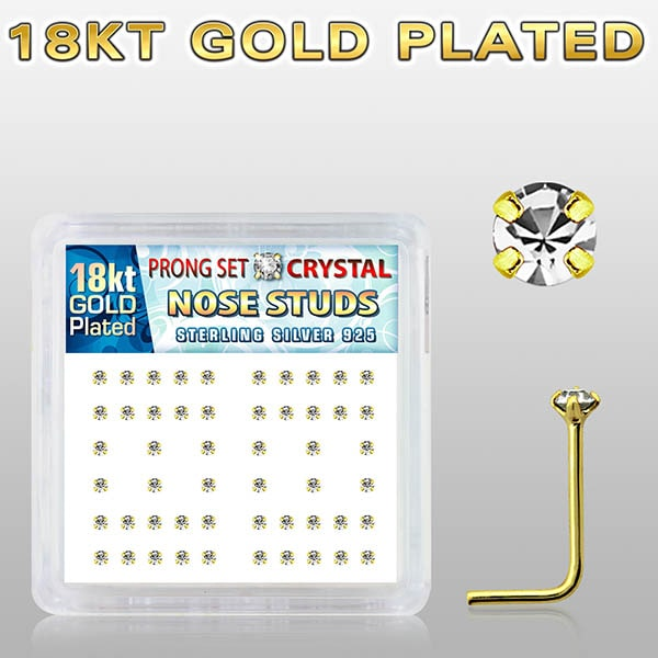 Gold Plated Nose Studs with clear prong set crystal on Display