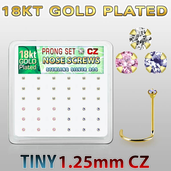 Gold Plated Silver Nose Screws piercings