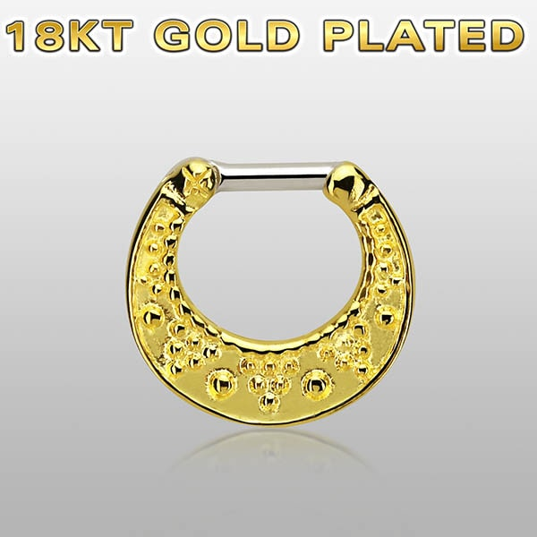 Gold Plated Septum Clicker Ring piercings