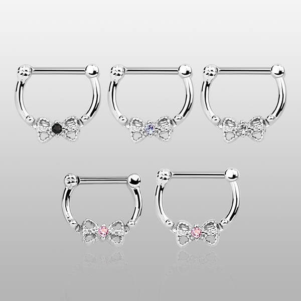 Silver Septum Clicker Ring with Bow