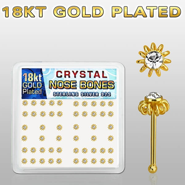 Gold Plated Nose Bones with clear crystal