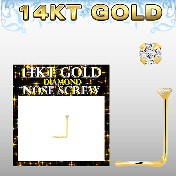 14k Gold Nose Screw with round prong set diamond